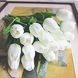 SHINE-CO 10 Pezzi PU MINI Tulipano Fiore Artificiale Vero Tocco per La Decorazione Domestica per La Cerimonia Nuziale(Bianco)