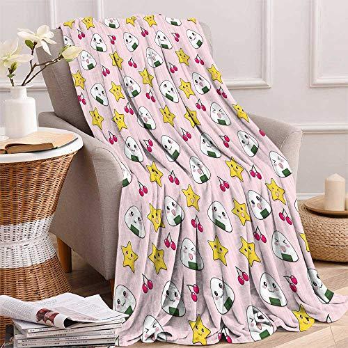 - maisi Kids Custom Design Cozy Flannel Blanket Cute Japanese Food Icons Rice Ball Cherries Asian Kawaii Anime Pattern Design Lightweight Blanket Extra Big 70