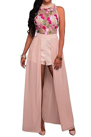 83da6aacbdaf Elisan Women s Sexy High Neck Sleeveless Sheer Mesh Embroidery Chiffon Jumpsuit  Romper Maxi Long Dress -