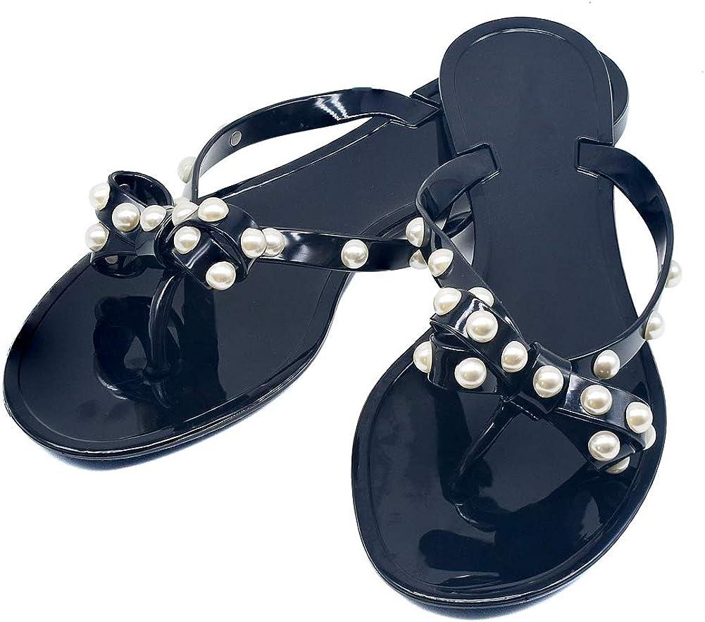Details about  /Flip Flops Jelly Sandal Women RIVET BOW Jelly Flat Thong Sandal Black 9-9.5