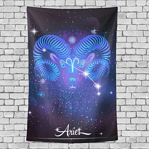 Home Decor 12 Constellation Zodiac Signs Aries Tapestries Hanging Bedroom Living Room Decorations Polyester Tapestry Wall Art 60X51 Inches