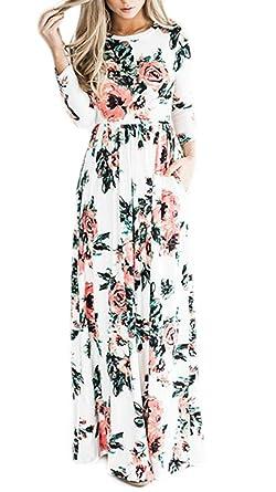 Vestidos Maxi Mujer Elegantes Primavera Otoño Vestido Manga Larga Vestido Cuello Basic Redondo Patrón De Flores