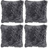 Adore 4 x Long Pile Super Soft and Cuddly Shaggy 17x17 (43x43cm) Cushion Cover, Charcoal