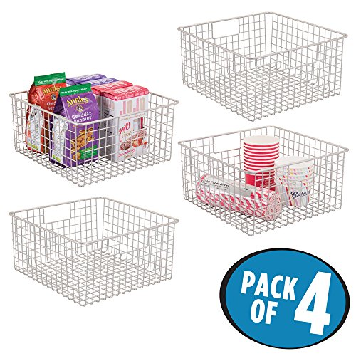 mDesign Household Wire Storage Organizer Bin Basket with Built-In Handles for Kitchen Cabinets, Pantry, Closets, Bedrooms, Bathrooms – 12″ x 12″ x 6″, Pack of 4, Satin