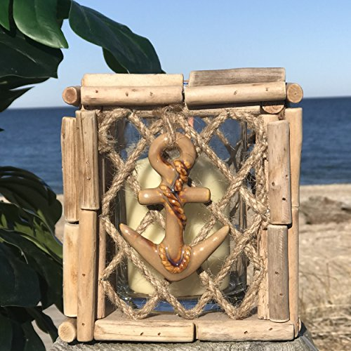Whole House Worlds The Key West Hurricane Candle Lantern Cube, Anchor Charm, Rope Netting, Glass Cup Holder, Toasted Bamboo, 6 H Inches, By