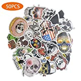 Laptop Stickers, Super Cool and Fashion Waterproof Skull Stickers for Luggage Skateboard helmet Car Motorcycle and Bike, Variety PVC Decals, Graffiti Patches, Stick Art Labels, Distinct Pack, 50pcs