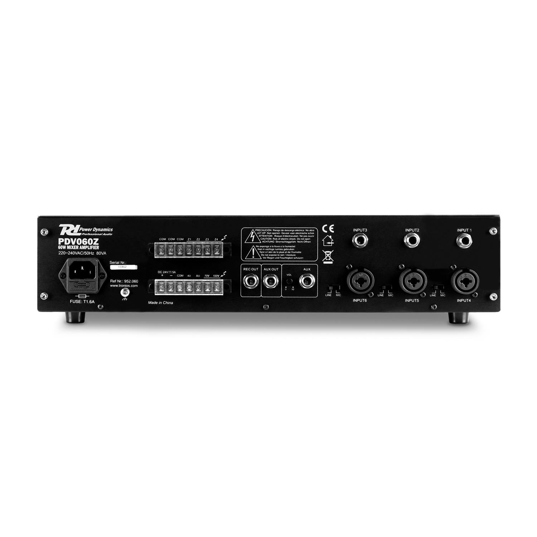 Power Dynamics PDV60Z Amplificador PA 6 canales 4 zonas 60W