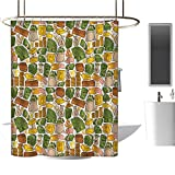 Stevenhome Money Shower Curtains 3D Digital Printing Colorful Symbols of Richness Wallet Credit Card Icons of Money Dollar Pound Signs Bathroom Decor Set with Hooks Multicolor
