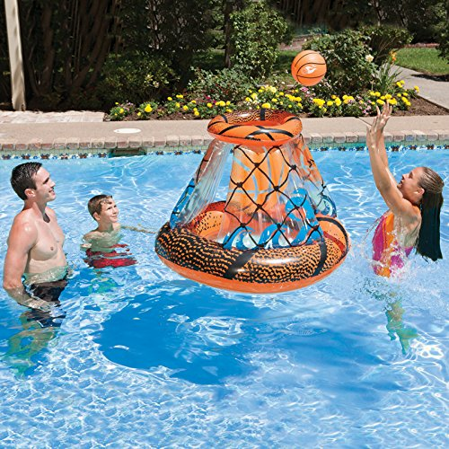 Inflatable Orange and Black Swimming Pool Floating Basketball Game, 48-Inch