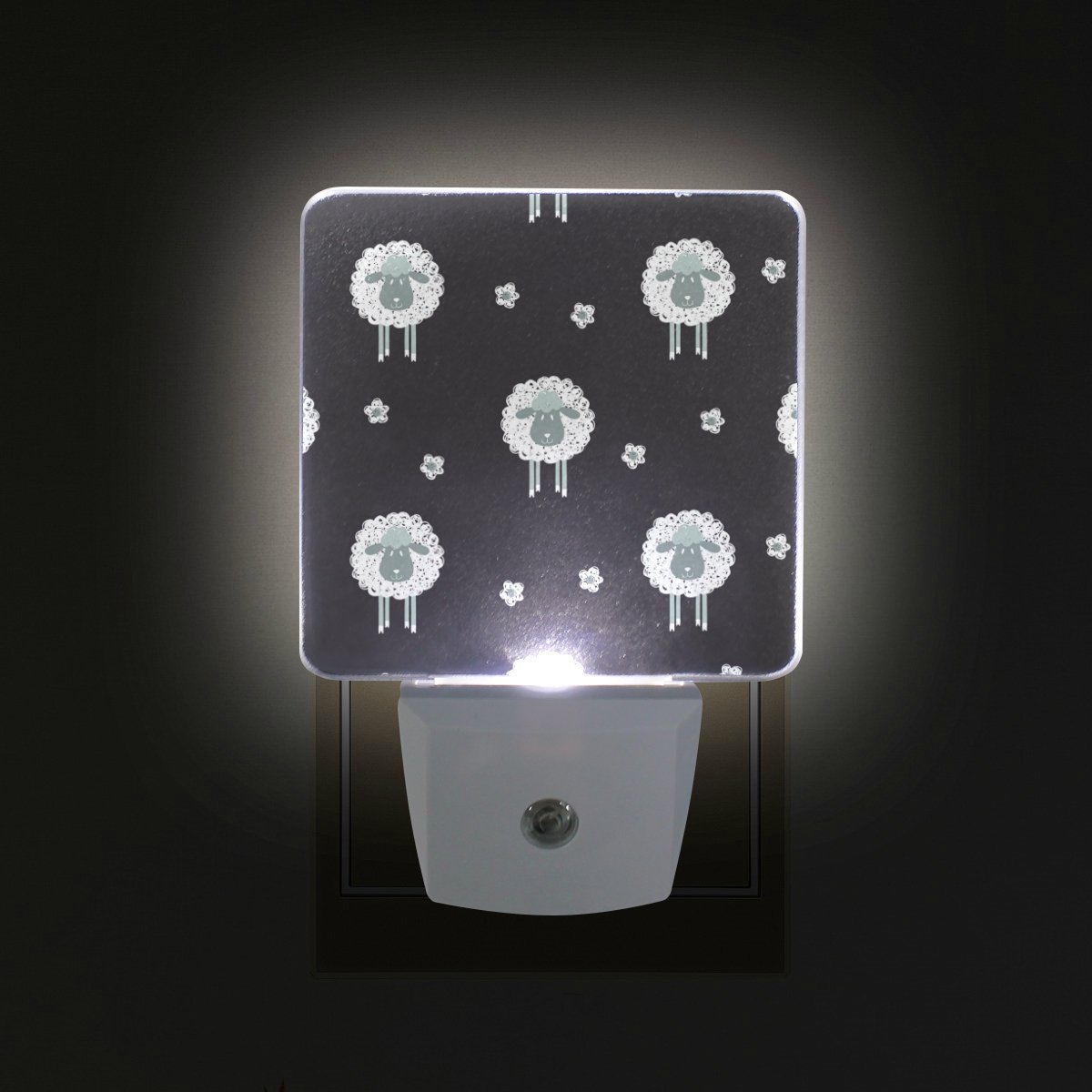 ALAZA Sheep LED Night Light with Smart Dusk to Dawn Sensor,Lamb Animal Black Plug in Night Light Great for Bedroom Bathroom Hallway Stairways Or Any Dark Room