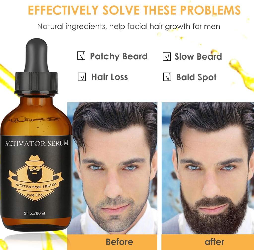 Kit Crecimiento de Barba, Rodillo Derma + Aceite de Suero para Crecimiento Barba+Bálsamo Barba+Peine+Tijeras, Kit Cuidado Barba Estimular Crecimiento ...
