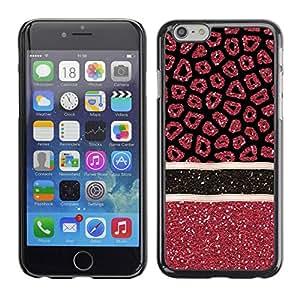 TopCaseStore / la caja del caucho duro de la cubierta de protección de la piel - Pattern Glitter Red Stars Lines - Apple iPhone 6
