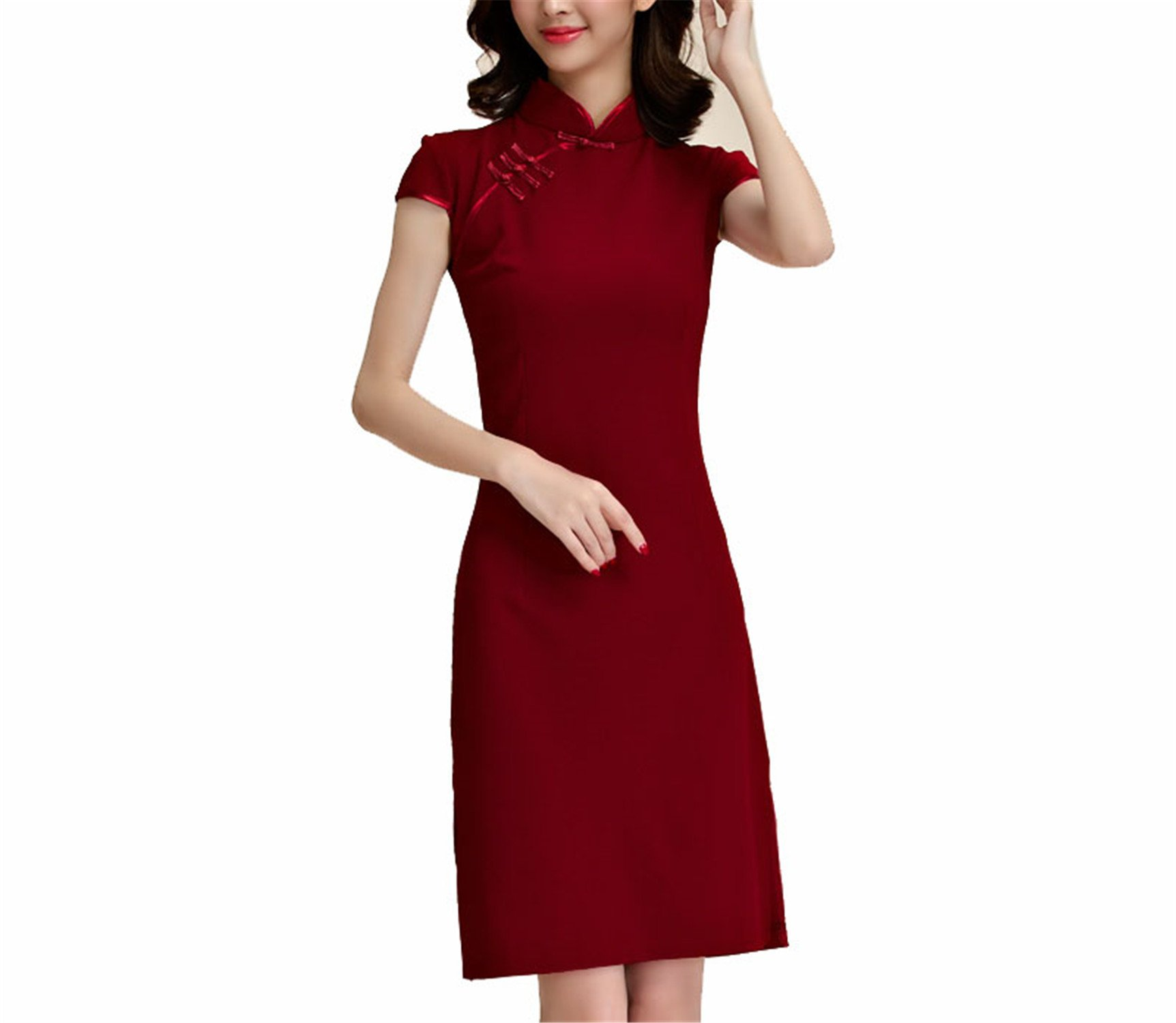 Coac3 M~3XL Plus Size Chinese Traditional Women Vintage Cheongsam Qipao Short Evening Stretch Split Big Dress Red M