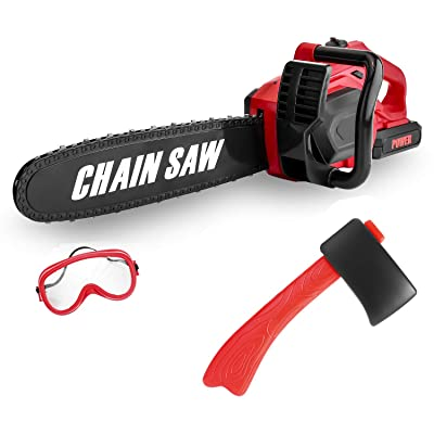 """Kids Size Construction Yard Toy Pack Tool Big Play Realistic Giant Chainsaw with Sound, Toddlers Pretend Play Yard Work Lawn Equipment Giant Plastic 20"""" Chains Saw for Boys Garden Tool: Toys & Games"""