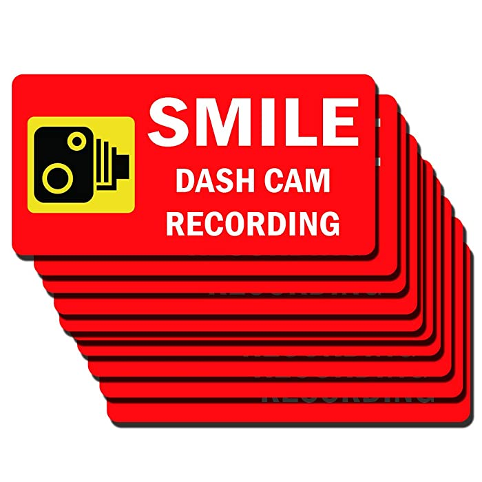10 Set Warning Signs Smile Dash Cam Recording Sign Static Cling Decal Inside Car Window 2.5 x 5 Inch Removable and Reusable