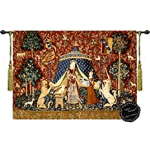 "Desire-the Lady and the Unicorn Medieval Jacquard Woven 32""w X27""l Wall Hanging Tapestry Free Shipping From Us"