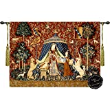 "Desire-the Lady and the Unicorn Medieval Jacquard Woven 47""w X33.5""l Wall Hanging Tapestry Free shipping from US"