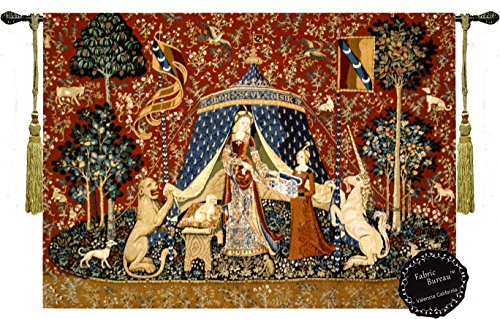 "Desire-the Lady and the Unicorn Medieval Jacquard Woven 47""w X33.5""l Wall Hanging Tapestry from US"