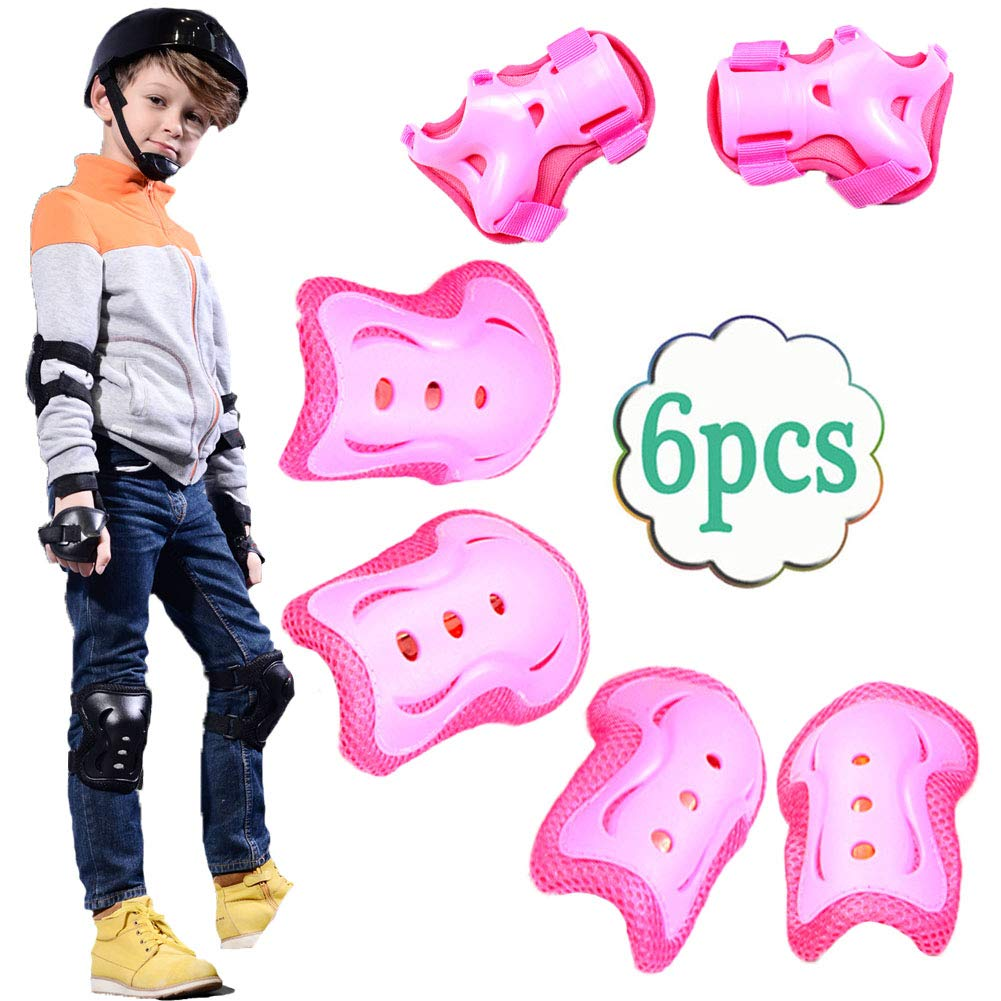 UOFEIVS Kid's Inline Skating Roller Blading Wrist Elbow Knee Pads Guards Protective Gear Set for Rollerblade Roller Skates Cycling BMX Bike Skateboard Inline Skatings Scooter Riding Sports (Pink) by UOFEIVS