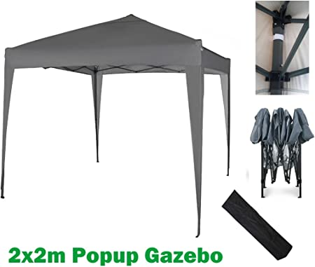 MCC@home 2x2m Pop up Gazebo Waterproof Outdoor Garden Marquee Canopy (NS) (Grey)