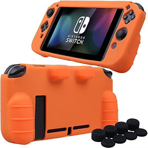 Pandaren® silicona Empuñadura Protector funda protectora para Nintendo Switch consola(naranja) + Joycon empuñaduras de pulgar thumb grips x 8: Amazon.es: Videojuegos