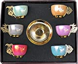 12 PC Traditional Turkish Coffee Espresso Tea Porcelain Serving Cup Saucer (Multi Color)