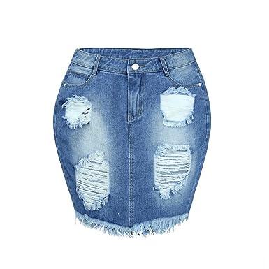 336365585b1127 Sunenjoy Jupe Jean Femme, Jupe Denim avec des Poches Jupe Taille ...