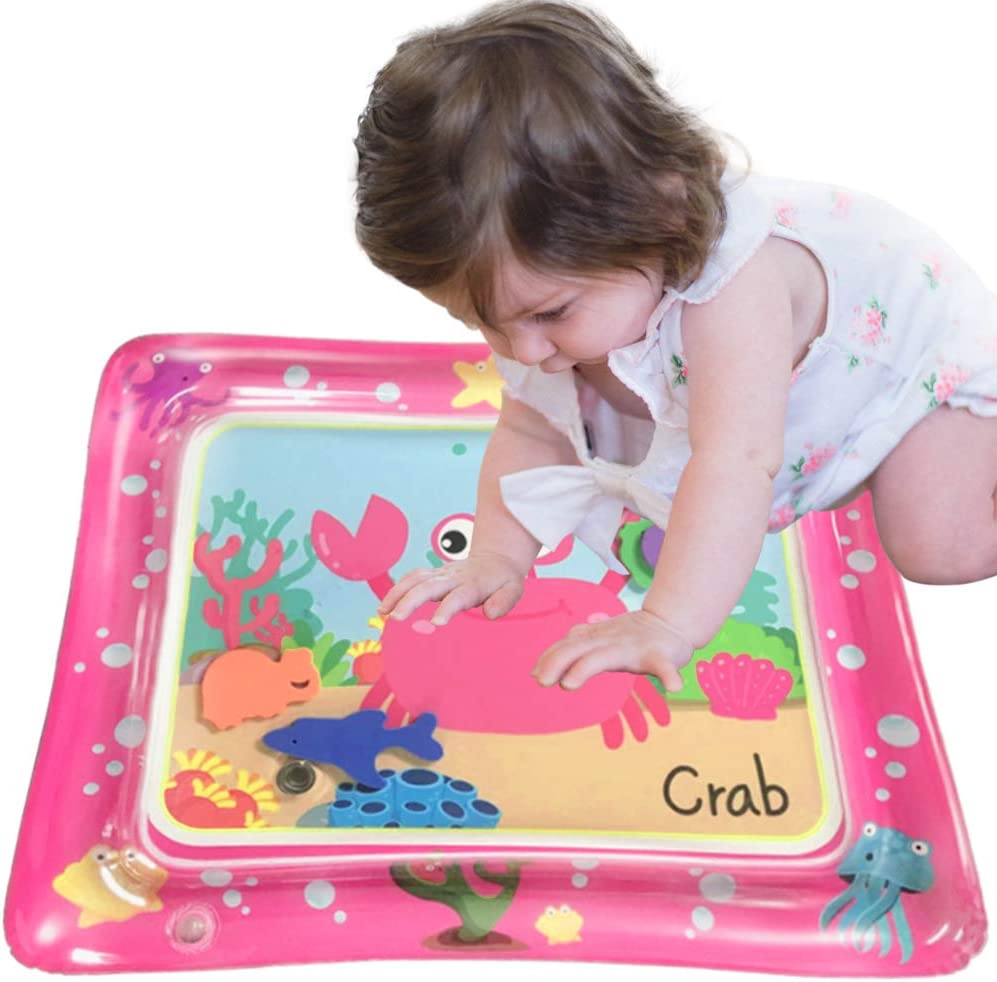 Beakabao Baby Water Mat | Tummy Time Floor Mat for Infants | Pink Crab Water Cushion | Newborn PVC Inflatable Game Pad | Stimulate Baby's Growth and Developing Motor Skills, Suitable for 3 Month +
