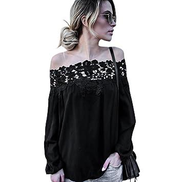 Amazon.com: New Fashion Women Summer Off Shoulder Lace Long Sleeve ...