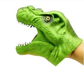 YOIL Burattini da dito per bambini Burattino a mano morbida in gomma Realistico Tirannosauro Rex a forma di dinosauro (verde)