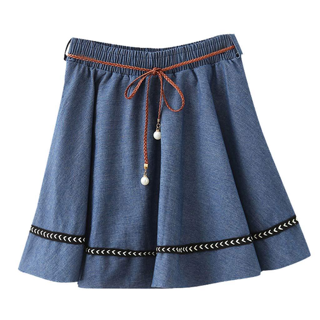 3900047639a7 Amazon.com: BCDshop Women Jean Denim Mini Skirt Flared Casual Skater Skirt  Thin Woven Belt Dress(Dark Blue,Free Size): Clothing