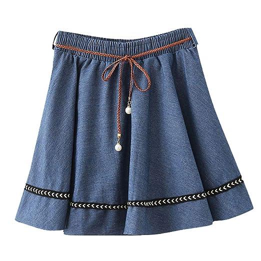 bc54b0b5d4d6 BCDshop Women Jean Denim Mini Skirt Flared Casual Skater Skirt Thin Woven  Belt Dress(Dark