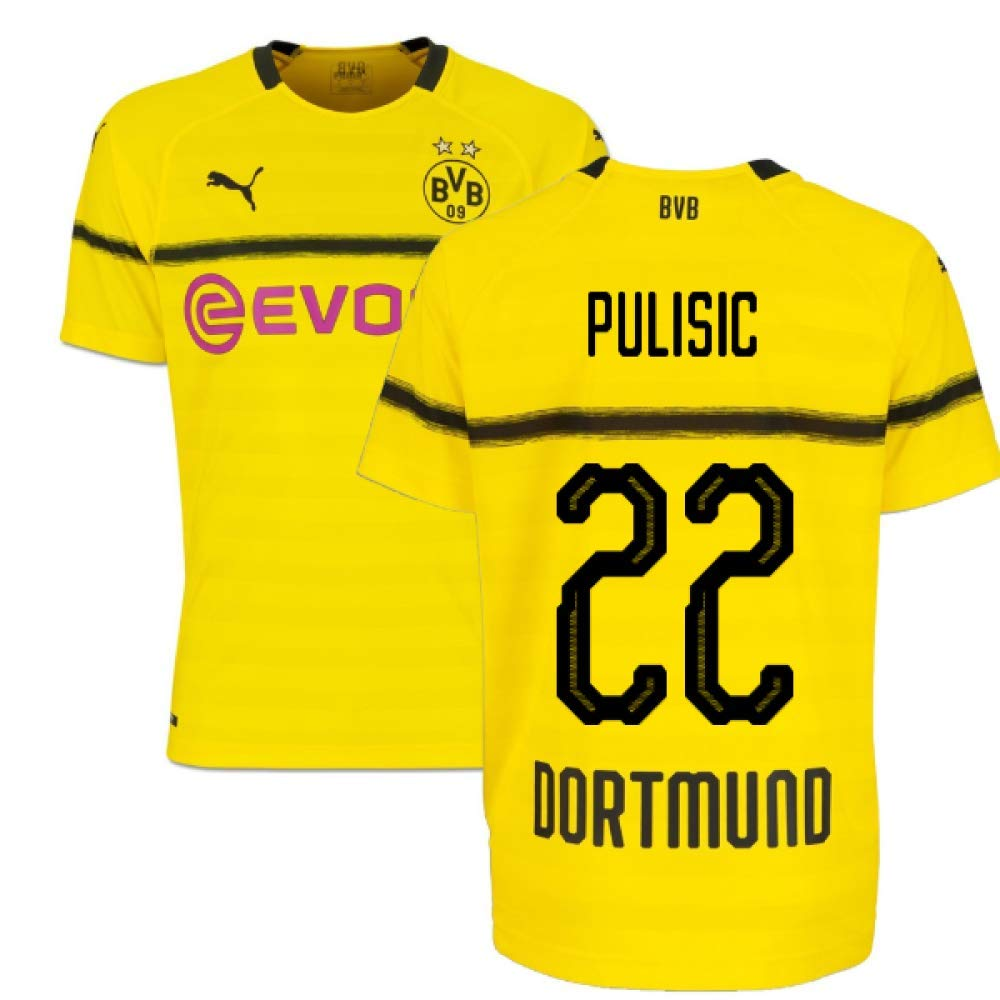 2018-19 Borussia Dortmund Home UCL Football Soccer T-Shirt Trikot (Christian Pulisic 22)