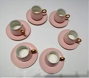 طقم اكواب قهوة 120 مل 12 قطعة وردي