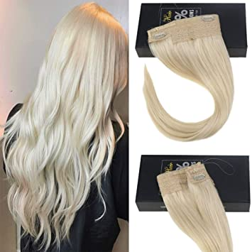 Sunny 16inch Platinum Blonde Color #60 Wire Halo Hair Extensions 100% Real  Human Hair Halo Real...