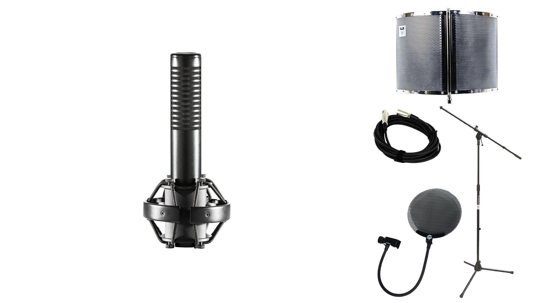 ART AR5 Ribbon Microphone Bundle with 20-foot XLR Cable & Pop Filter & Stand & CAD AS22 (5 Items)