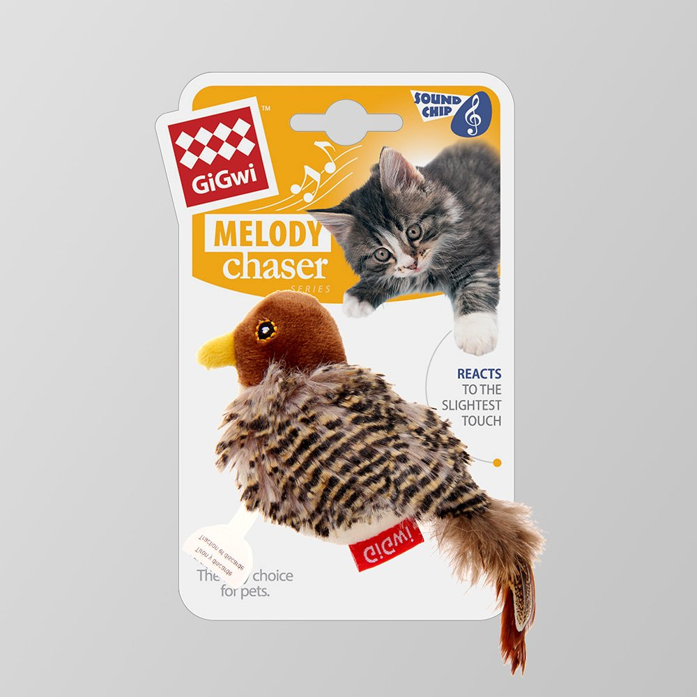 Gigwi Chirpy Bird Sound Interactive Squeaking Cat Toys Melody Chaser Play N Squeak Kitten Toy for Boredom