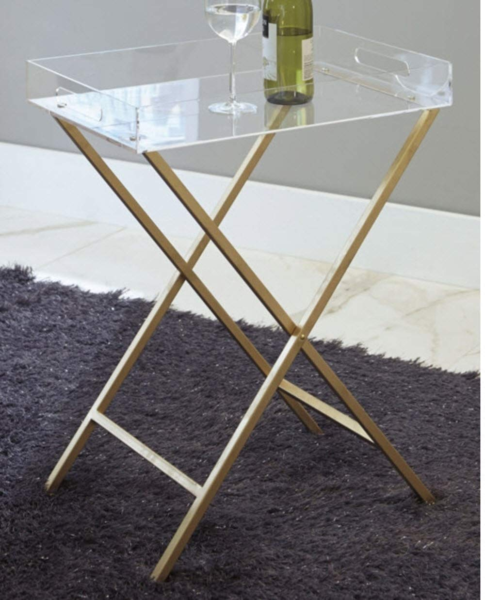 Ashley Furniture Signature Design - Ervinville Tray Accent Table - Contemporary - Clear Acrylic Top - Gold Metal Base by Signature Design by Ashley (Image #2)