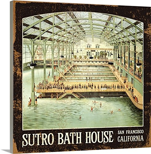 Canvas On Demand Premium Thick-Wrap Canvas Wall Art Print entitled Sutro Bath House San Francisco Vintage Advertising Poster (Sutro Baths)