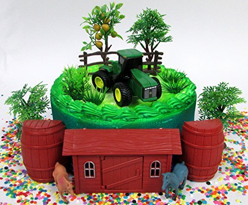 John Deere Farming Tractor Farmer Themed Birthday Cake Topper