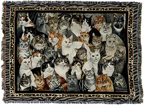 Pure Country Weavers - Purrfect Cats Woven Tapestry Throw Blanket with Fringe Cotton USA Size 72 x 54
