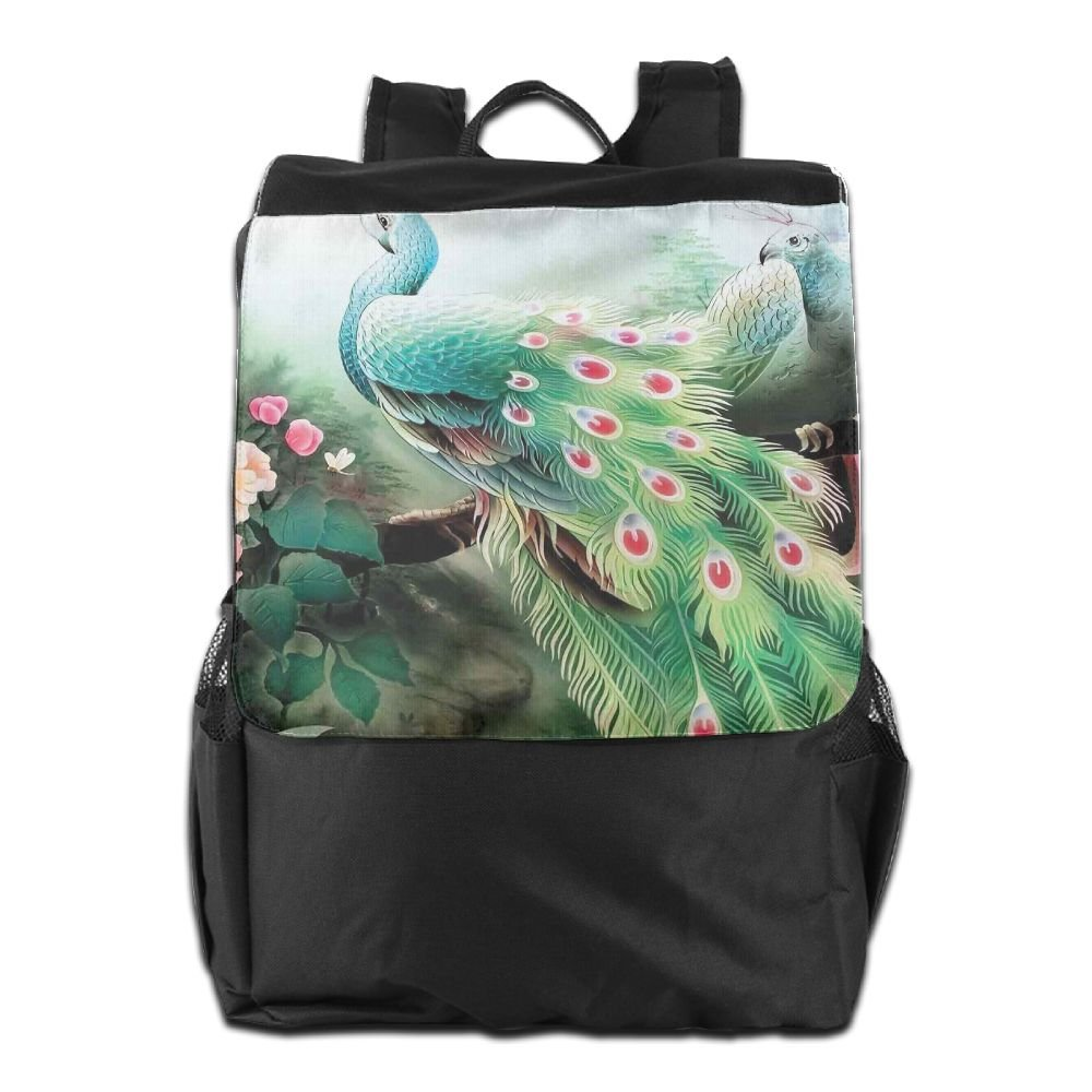 Newfood Ss Peacock In Summer Flower Garden Glass Vibrant Color Painting Effect Nature Art Print Outdoor Travel Backpack Bag For Men And Women