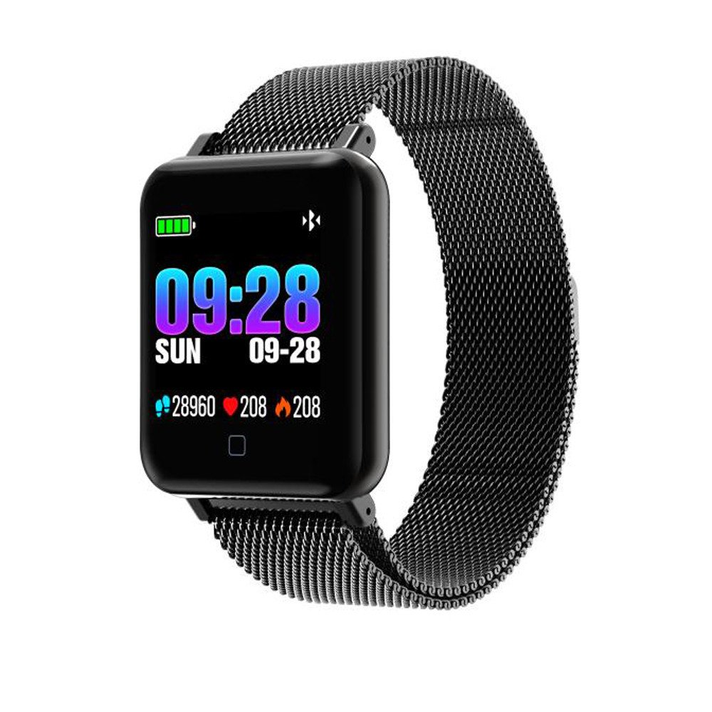 M19 Smart Watch, 1.3 inch Color Screen Fitness Tracker Activity Smart Bracelet with Weather Forecast Heart Rate Monitor Step Calorie Counter Pedometer Waterproof Smartwatch for Android iOS (Black)
