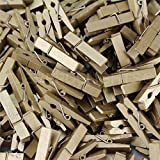 100 Pack - CleverDelights 1 3/8'' Mini Clothespins - Metallic Gold - Wooden Clips Craft Pins Scrapbooking