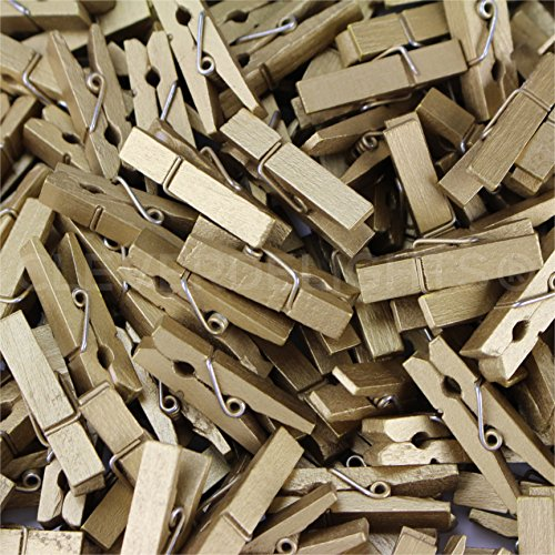 "250 Pack - CleverDelights 1 3/8"" Mini Clothespins - Metallic Gold - Wooden Clips Craft Pins Scrapbooking"