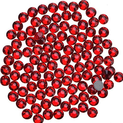 3000 Pieces Hot Fix Glass Flatback Rhinestones HotFix Round Crystal Gems (Light Siam, SS10)