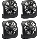 O2Cool FD05004BLK 5 Black 2 Speed Battery Operated Camping Fans - Quantity 4