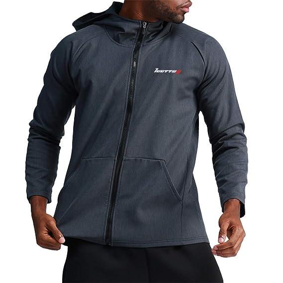 Camiseta de Compresión Para Hombre Gimnasio de compresión de los hombres Correr de manga larga chaqueta con capucha caliente Sudadera Fitness Chaqueta ...