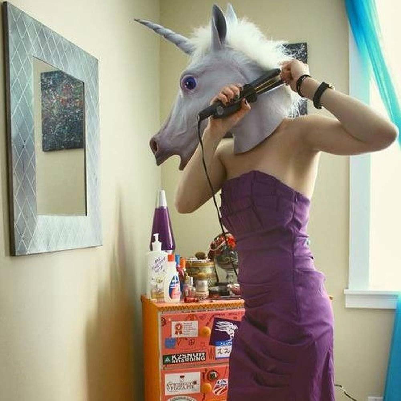 Amazon.com: KINGMYS®Latex Unicorn Head Mask (Unicorn Mask): Toys ...