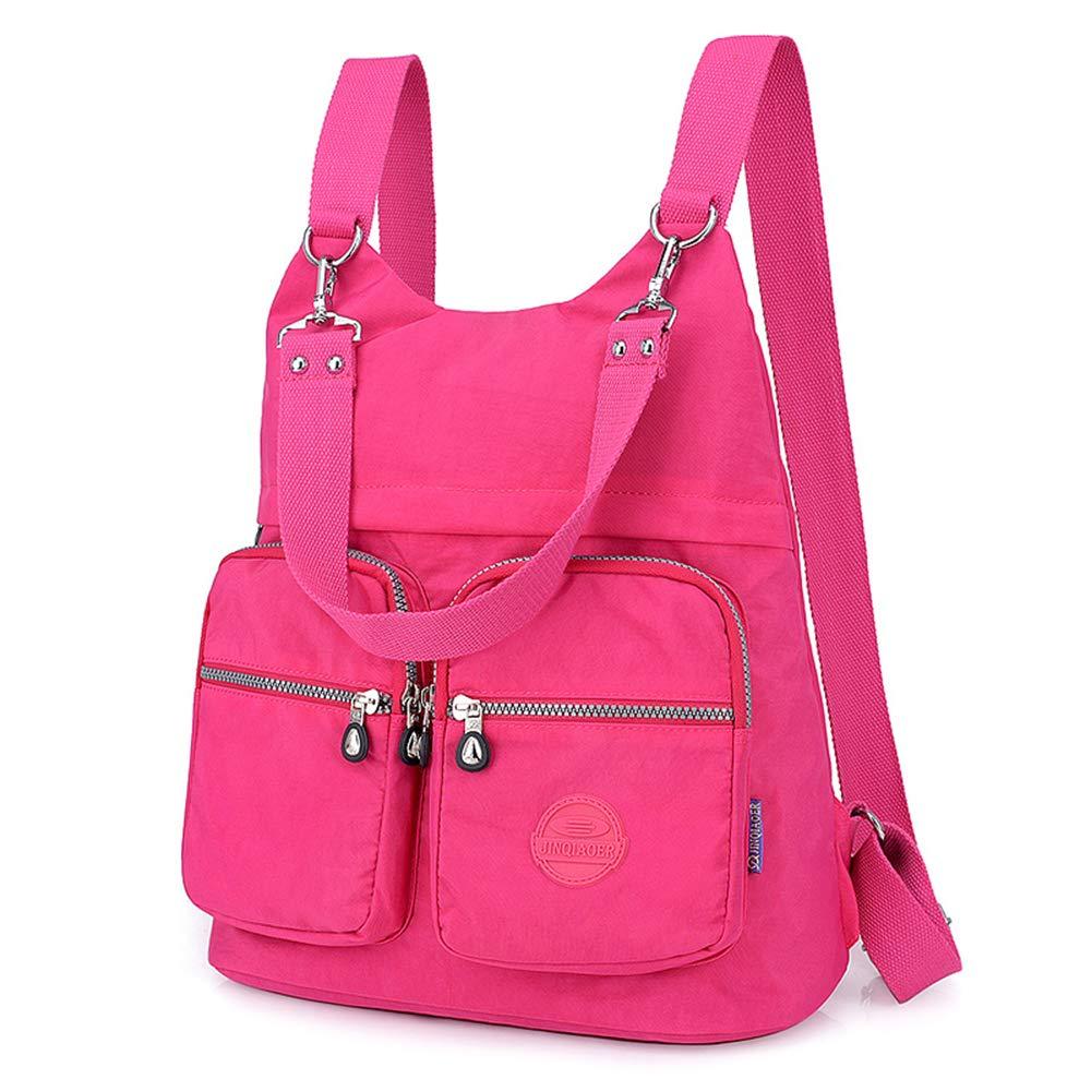Nameblue Women Girls Lightweight Mini Backpack Handbag Waterproof Nylon Bag Shoulder Bags Messenger Cross Body Casual Daypack Multifunction 6002-black